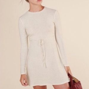 Reformation Ivory Shira long sleeve sweater dress